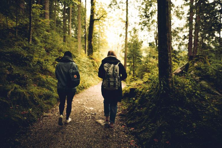 two people walking through the forest