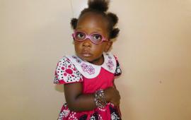 Milka wearing her new glasses
